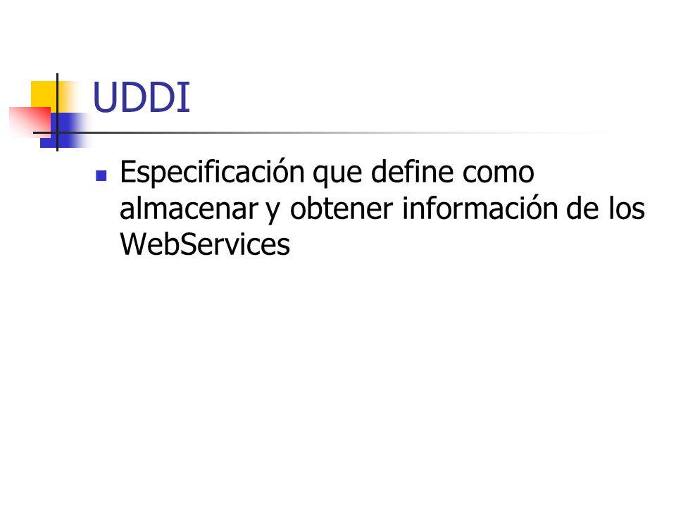 UDDI Especificación que define como almacenar y obtener información de los WebServices