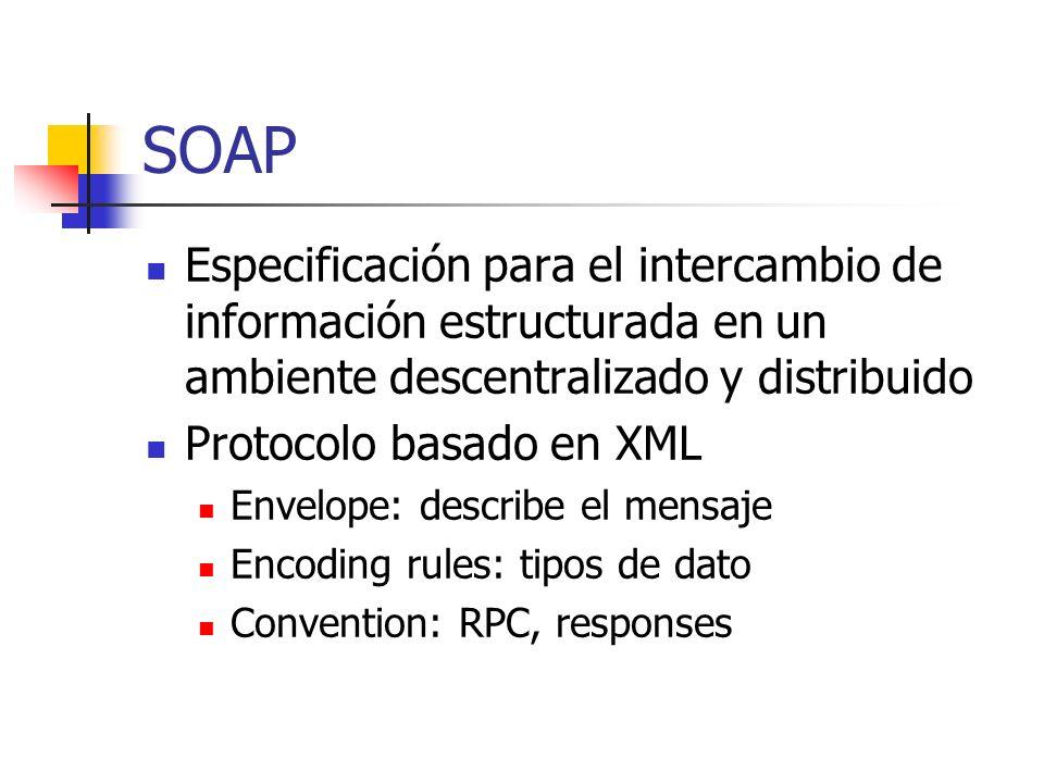 SOAP Especificación para el intercambio de información estructurada en un ambiente descentralizado y distribuido.