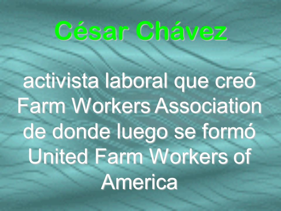 César Chávez activista laboral que creó Farm Workers Association de donde luego se formó United Farm Workers of America.