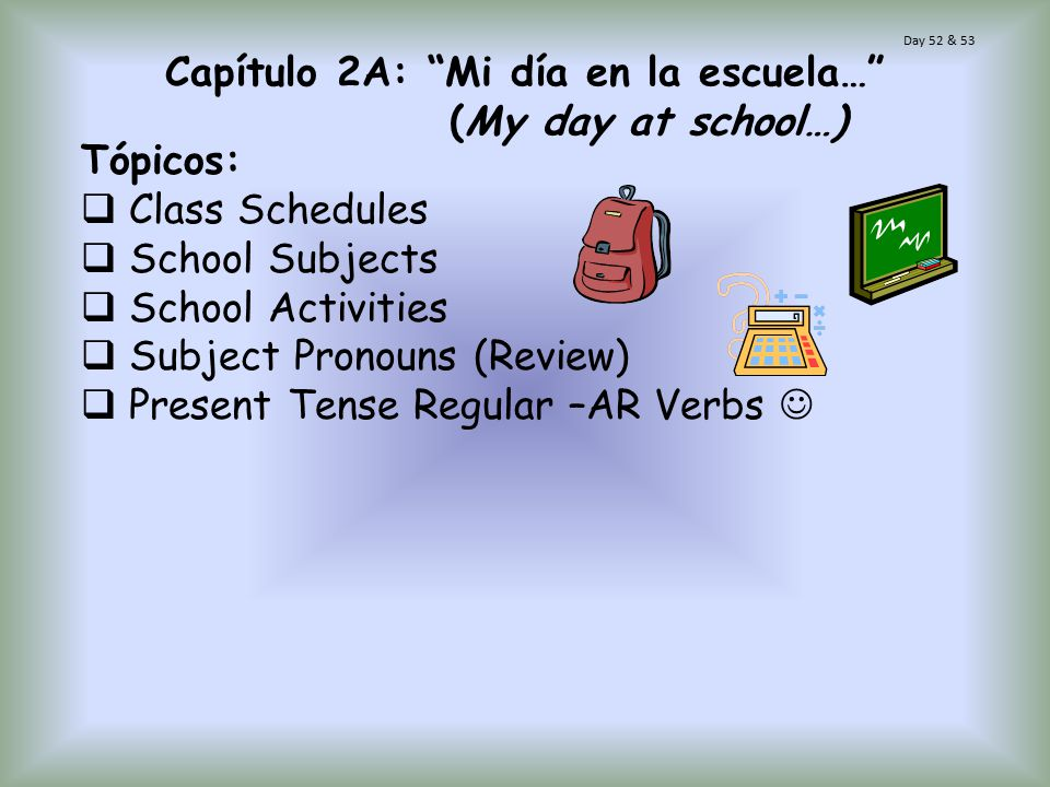 Capítulo 2A: Mi día en la escuela… (My day at school…)