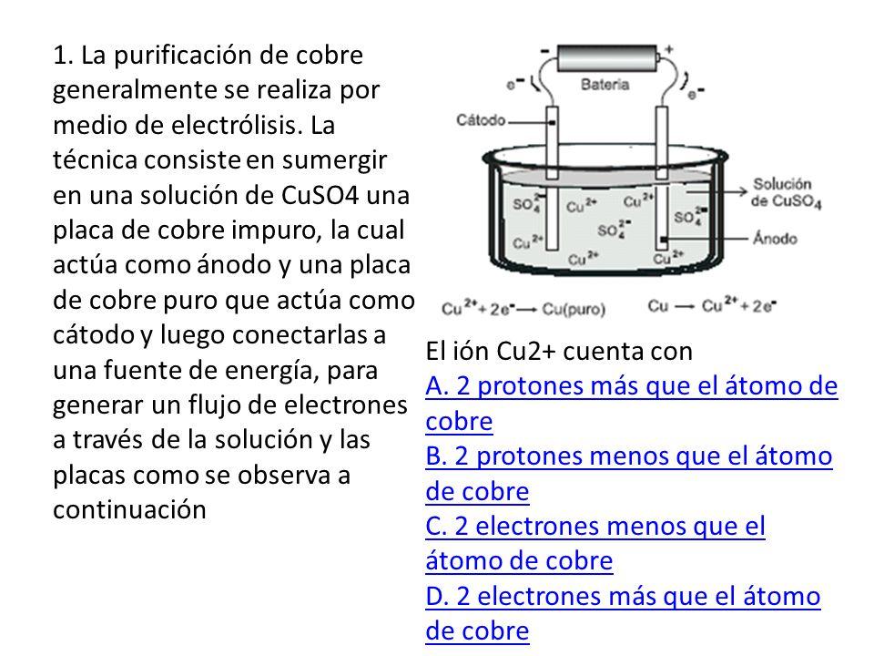 1 La Purificación De Cobre Generalmente Se Realiza Por Medio De Electrólisis La Técnica Consiste En Sumergir En Una Solución De Cuso4 Una Placa De Cobre