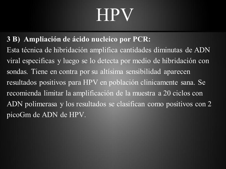 HPV 3 B) Ampliación de ácido nucleico por PCR: