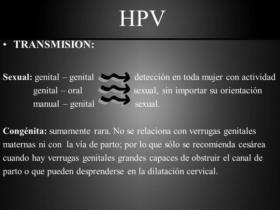 HPV TRANSMISION: Sexual: genital – genital detección en toda mujer con actividad.