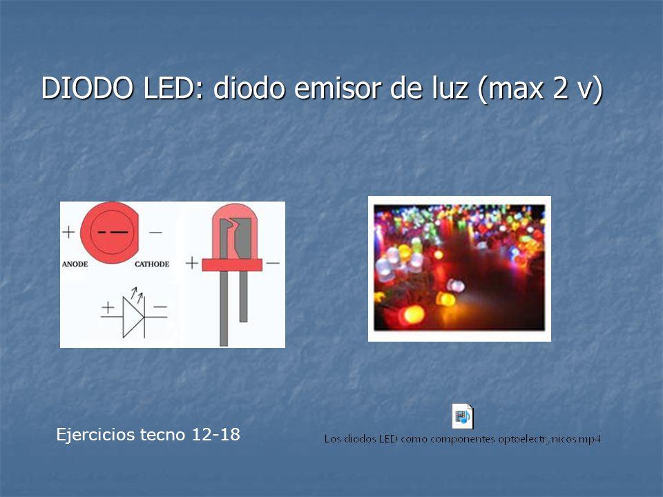 DIODO LED: diodo emisor de luz (max 2 v)
