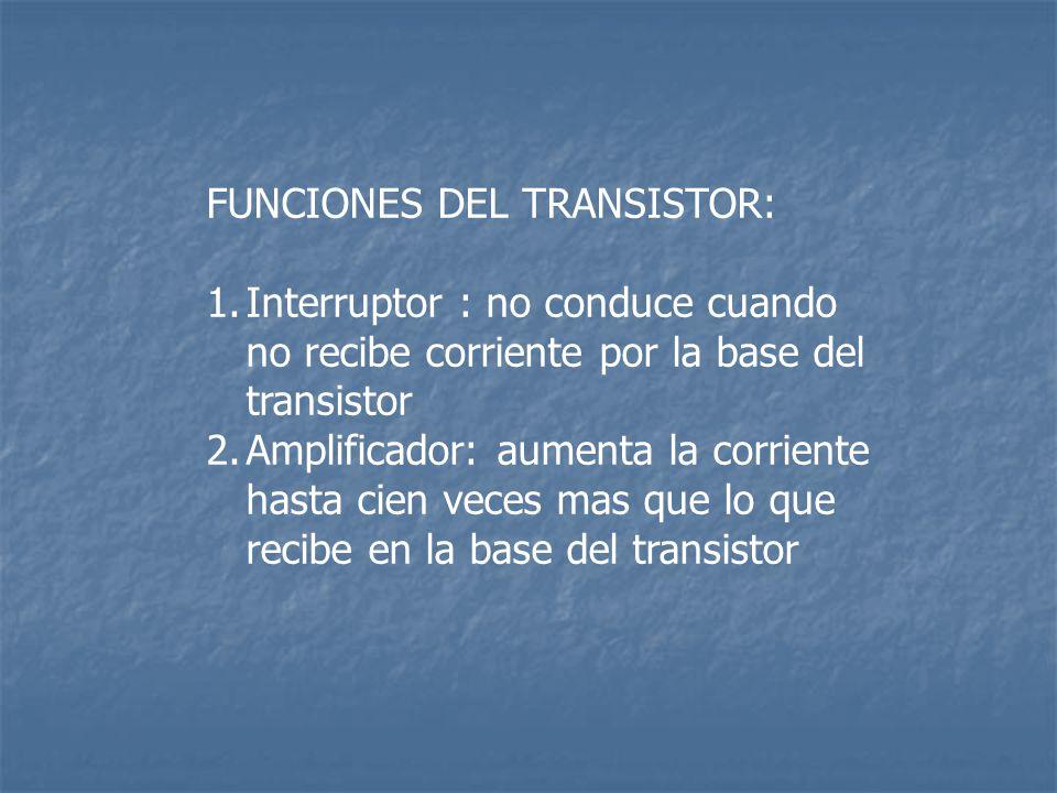 FUNCIONES DEL TRANSISTOR: