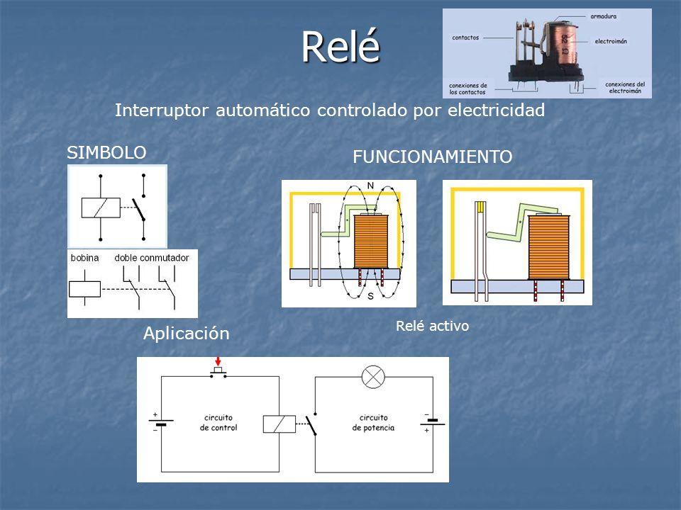 Relé Interruptor automático controlado por electricidad SIMBOLO