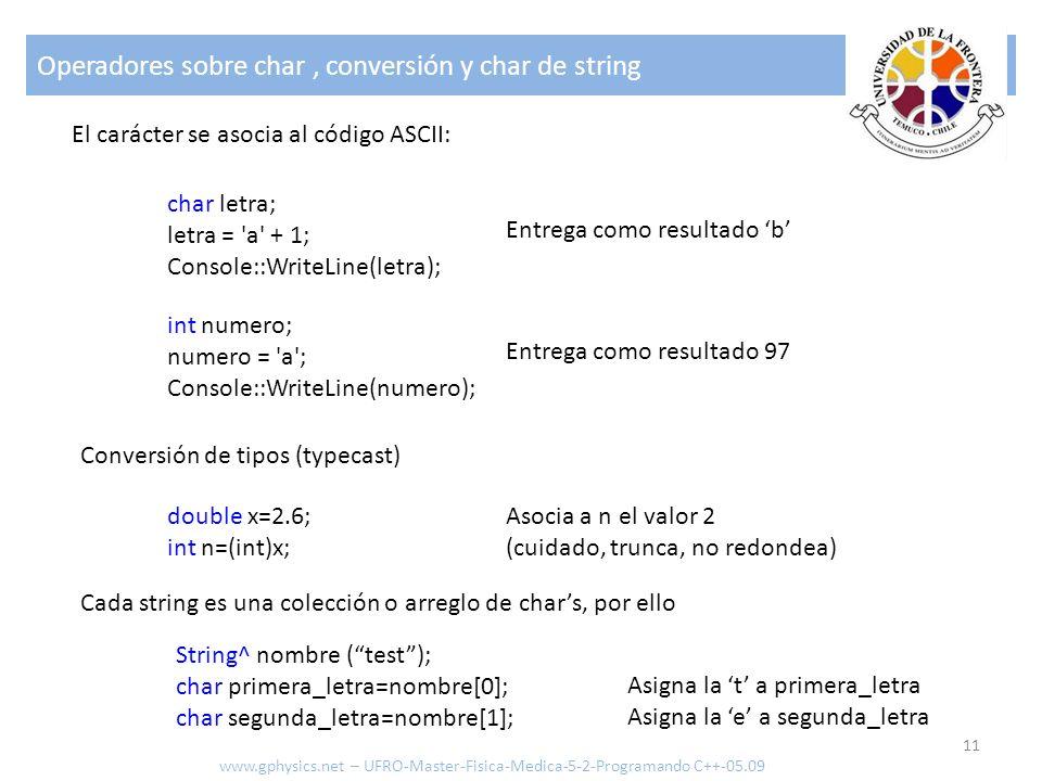Operadores sobre char , conversión y char de string