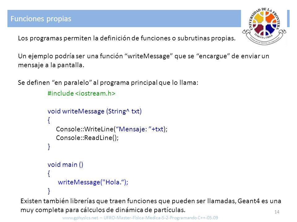 Funciones propias Los programas permiten la definición de funciones o subrutinas propias.