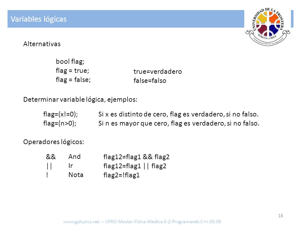 Variables lógicas Alternativas bool flag; flag = true; flag = false;
