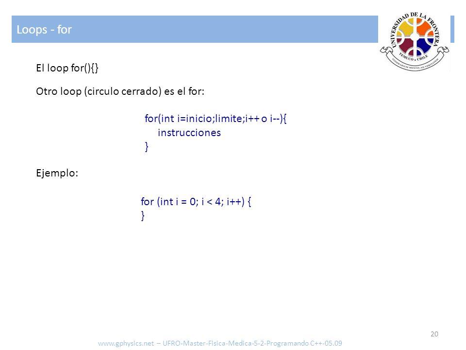 Loops - for El loop for(){} Otro loop (circulo cerrado) es el for: