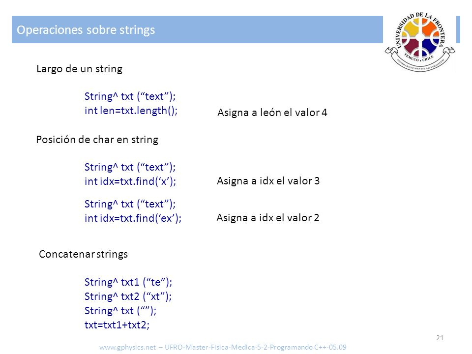 Operaciones sobre strings