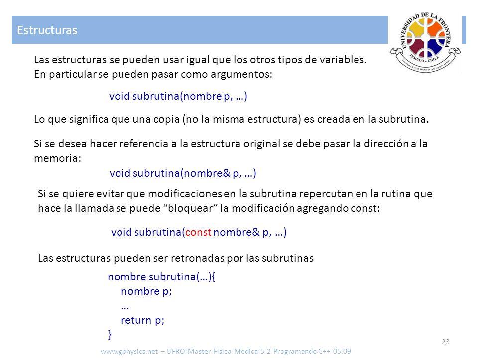 Estructuras Las estructuras se pueden usar igual que los otros tipos de variables. En particular se pueden pasar como argumentos: