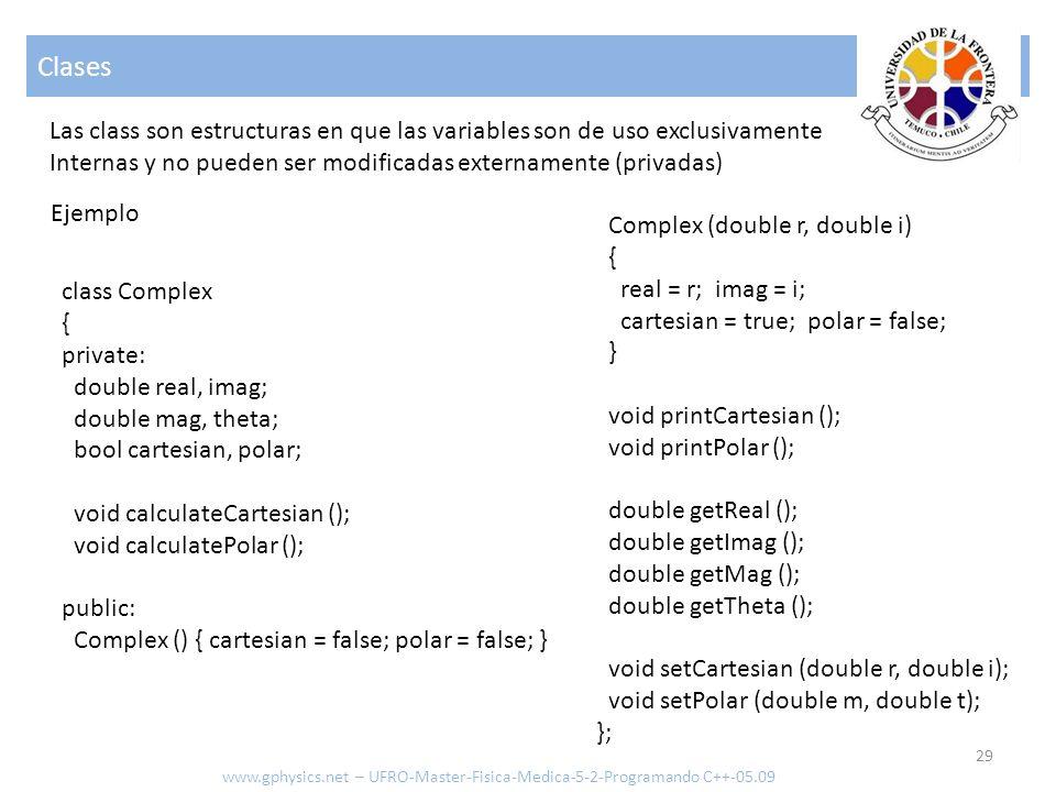 Clases Las class son estructuras en que las variables son de uso exclusivamente. Internas y no pueden ser modificadas externamente (privadas)