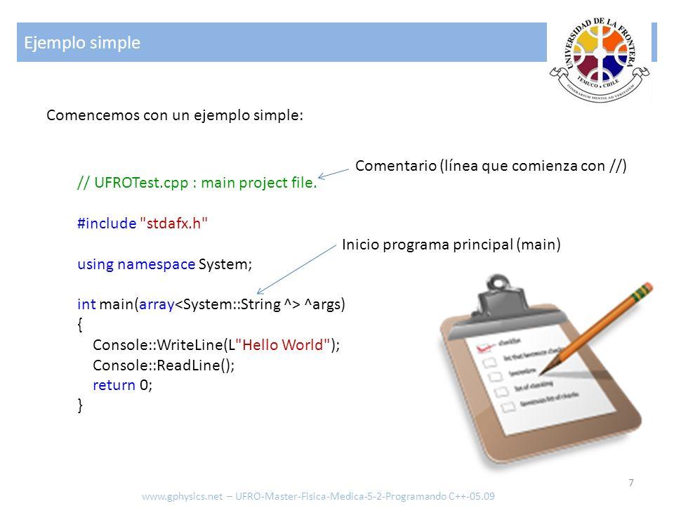 Ejemplo simple Comencemos con un ejemplo simple: