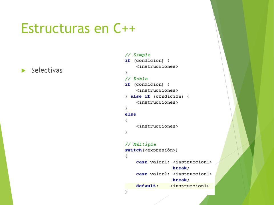 Estructuras en C++ Selectivas
