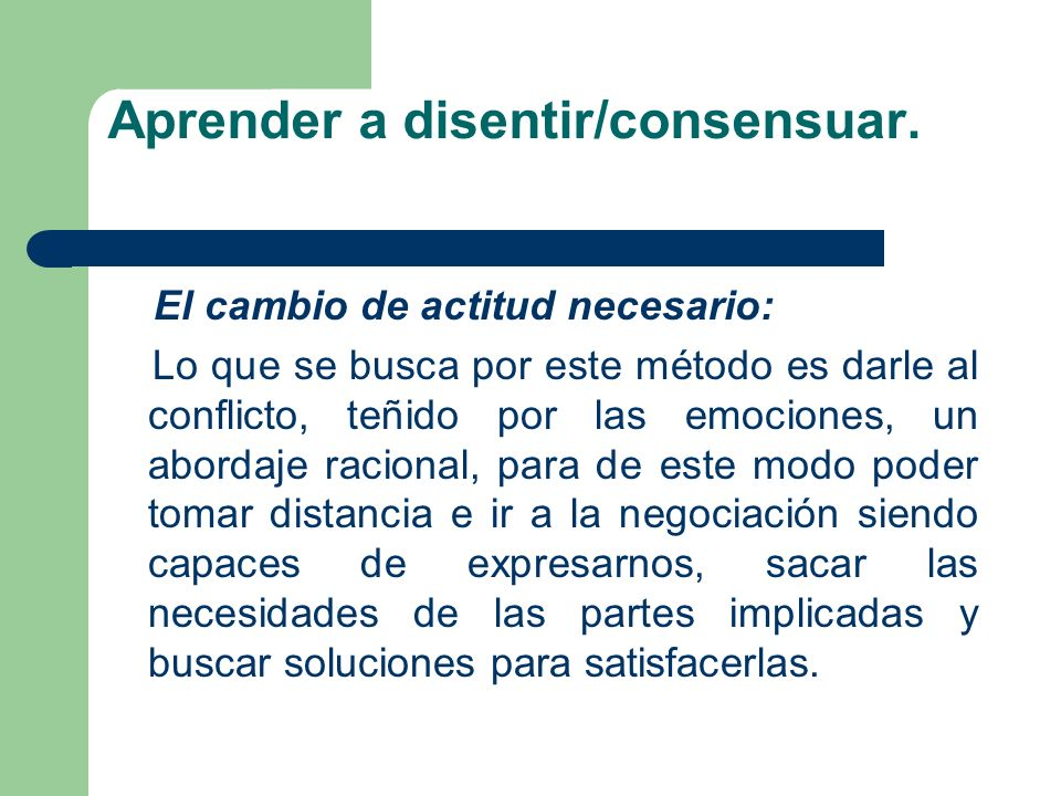 Aprender a disentir/consensuar.