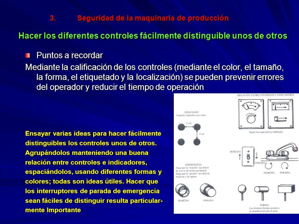 Seguridad de la maquinaria de producción Hacer los diferentes controles fácilmente distinguible unos de otros