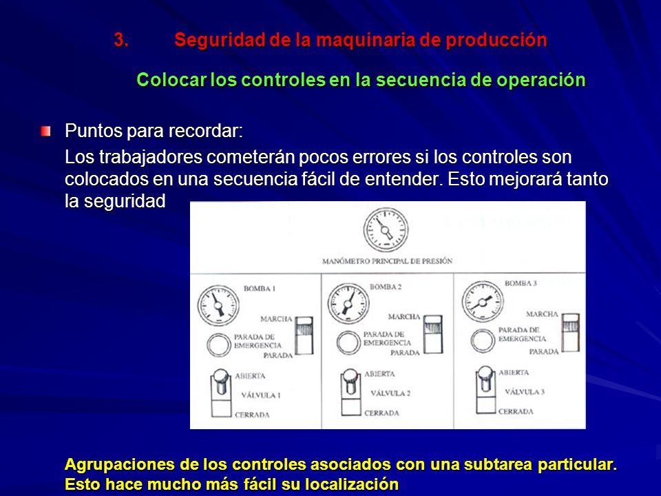 Seguridad de la maquinaria de producción Colocar los controles en la secuencia de operación