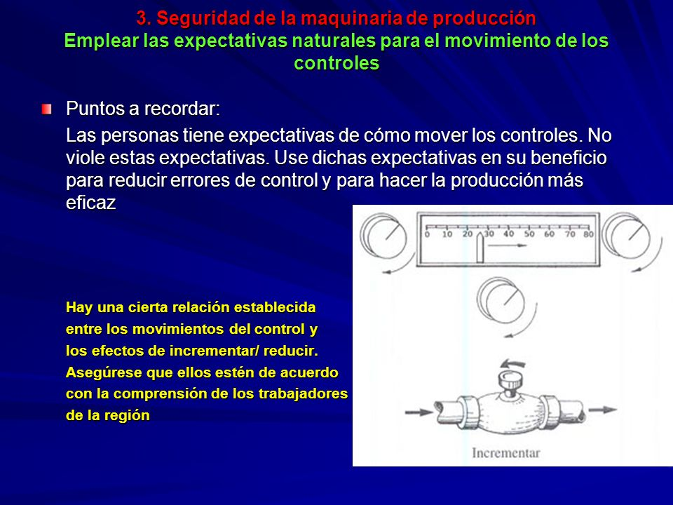 3. Seguridad de la maquinaria de producción Emplear las expectativas naturales para el movimiento de los controles