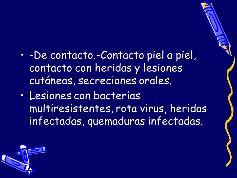 -De contacto.-Contacto piel a piel, contacto con heridas y lesiones cutáneas, secreciones orales.