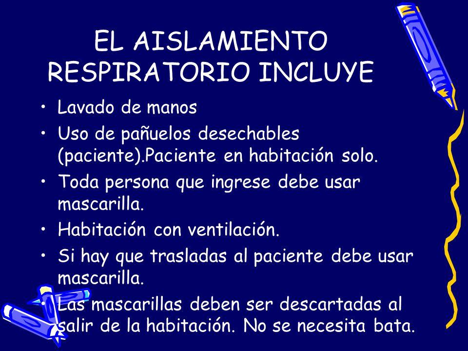 EL AISLAMIENTO RESPIRATORIO INCLUYE
