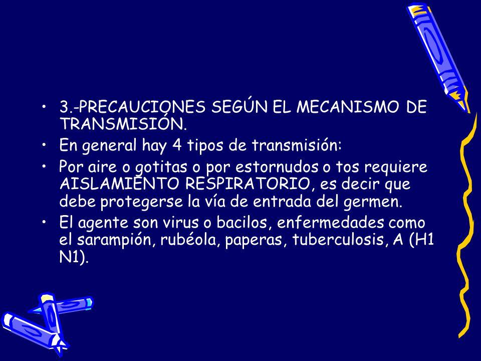 3.-PRECAUCIONES SEGÚN EL MECANISMO DE TRANSMISIÓN.