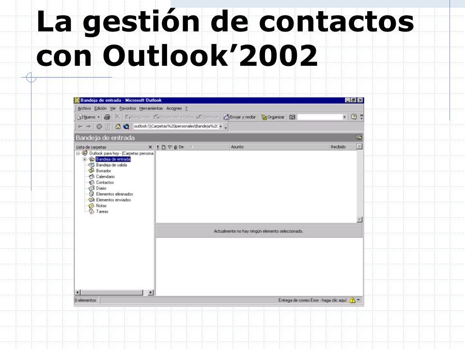 La gestión de contactos con Outlook'2002