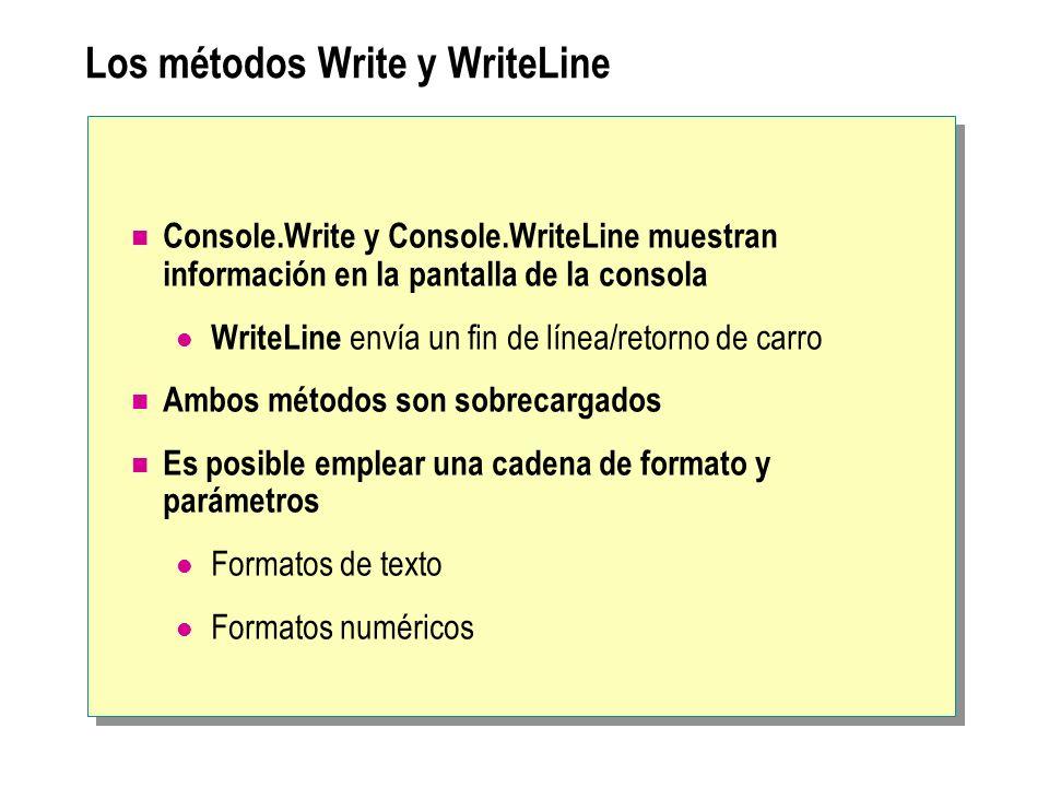 Los métodos Write y WriteLine