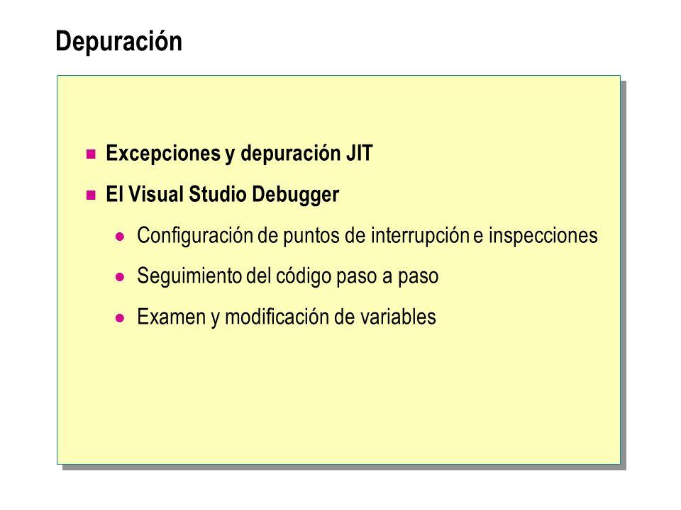 Depuración Excepciones y depuración JIT El Visual Studio Debugger