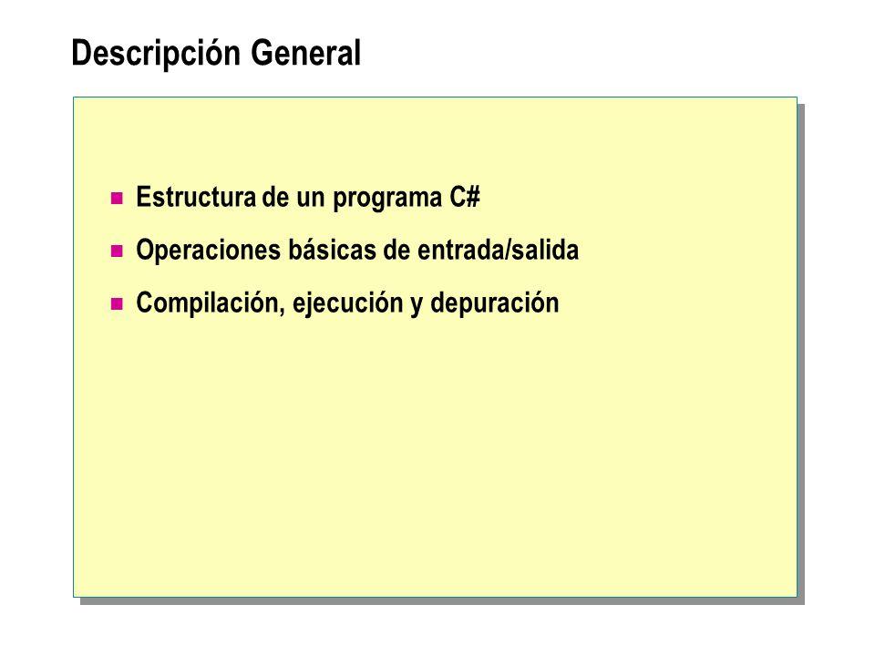 Descripción General Estructura de un programa C#