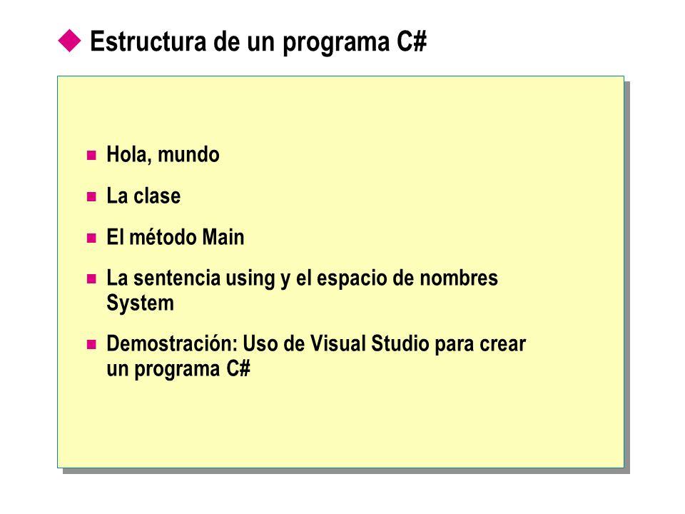 Estructura de un programa C#