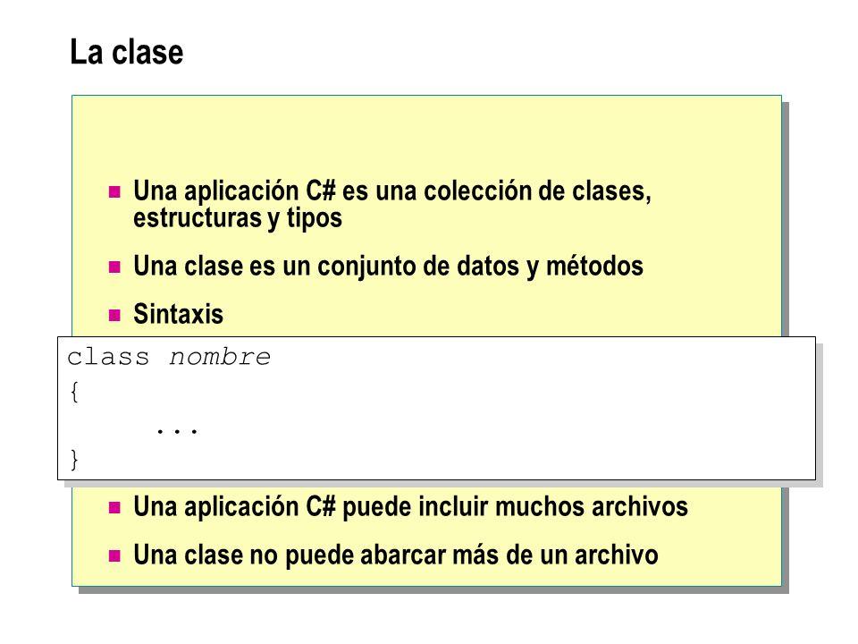 La clase Una aplicación C# es una colección de clases, estructuras y tipos. Una clase es un conjunto de datos y métodos.