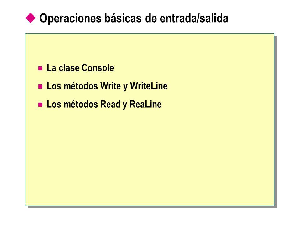 Operaciones básicas de entrada/salida