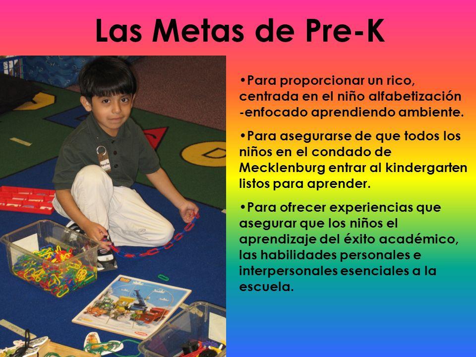 Las Metas de Pre-K Para proporcionar un rico, centrada en el niño alfabetización -enfocado aprendiendo ambiente.