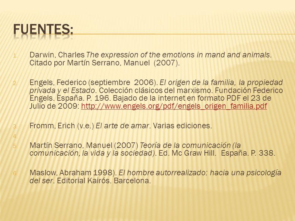 FUENTES:Darwin, Charles The expression of the emotions in mand and animals. Citado por Martín Serrano, Manuel (2007).