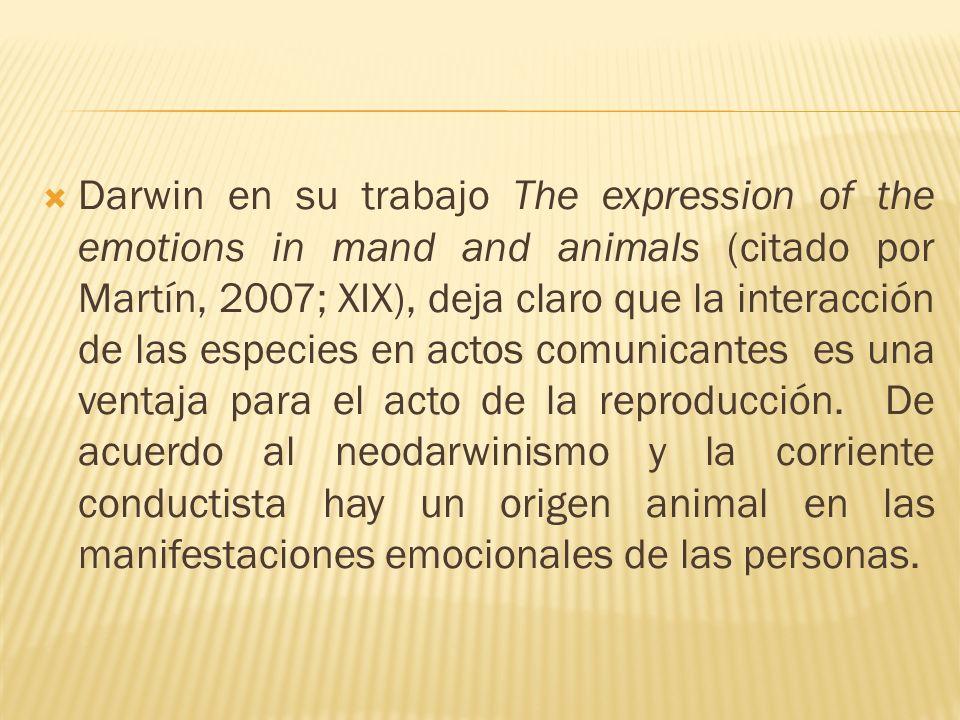 Darwin en su trabajo The expression of the emotions in mand and animals (citado por Martín, 2007; XIX), deja claro que la interacción de las especies en actos comunicantes es una ventaja para el acto de la reproducción.