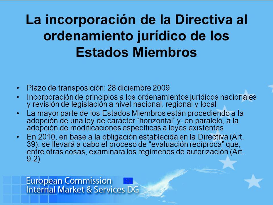 La incorporación de la Directiva al ordenamiento jurídico de los Estados Miembros