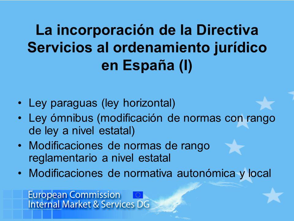 La incorporación de la Directiva Servicios al ordenamiento jurídico en España (I)