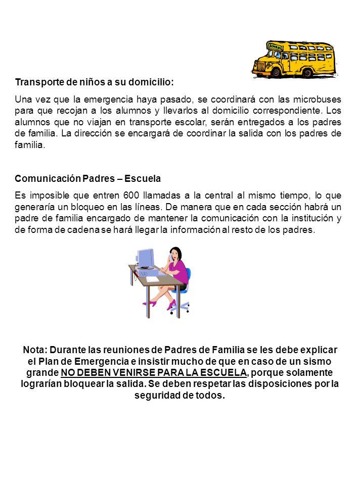 Transporte de niños a su domicilio:
