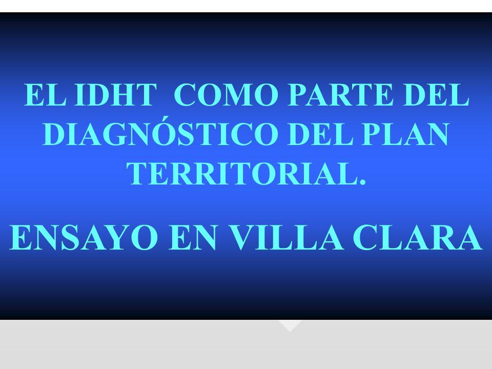 EL IDHT COMO PARTE DEL DIAGNÓSTICO DEL PLAN TERRITORIAL.