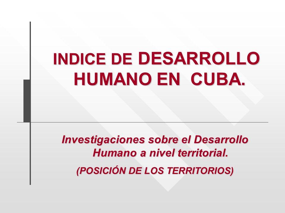 INDICE DE DESARROLLO HUMANO EN CUBA.