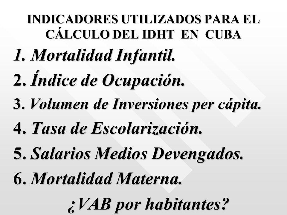INDICADORES UTILIZADOS PARA EL CÁLCULO DEL IDHT EN CUBA