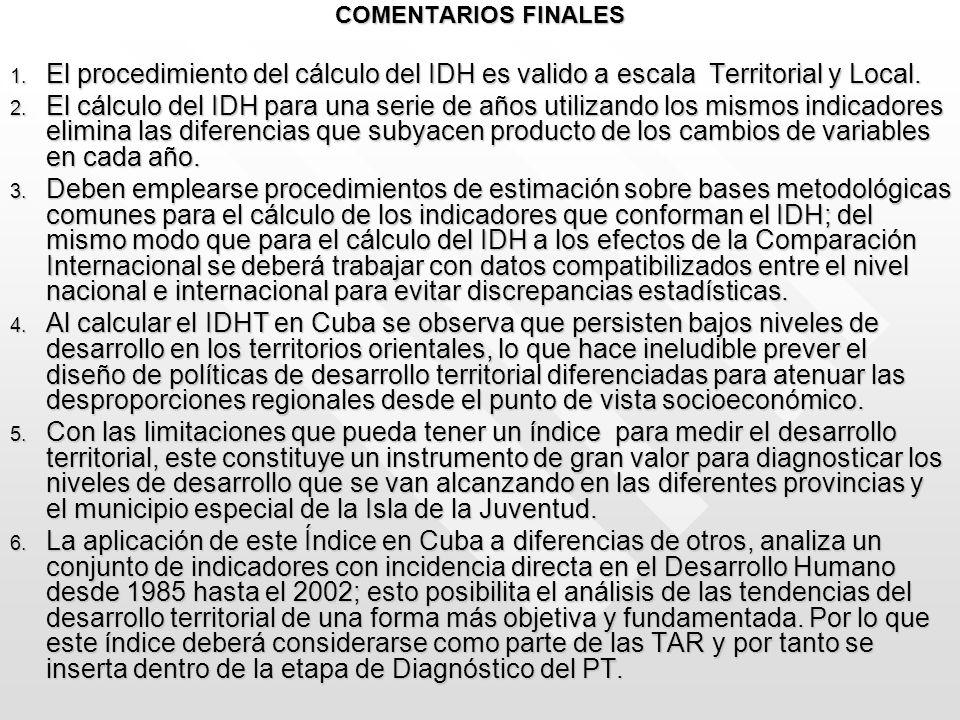COMENTARIOS FINALES El procedimiento del cálculo del IDH es valido a escala Territorial y Local.