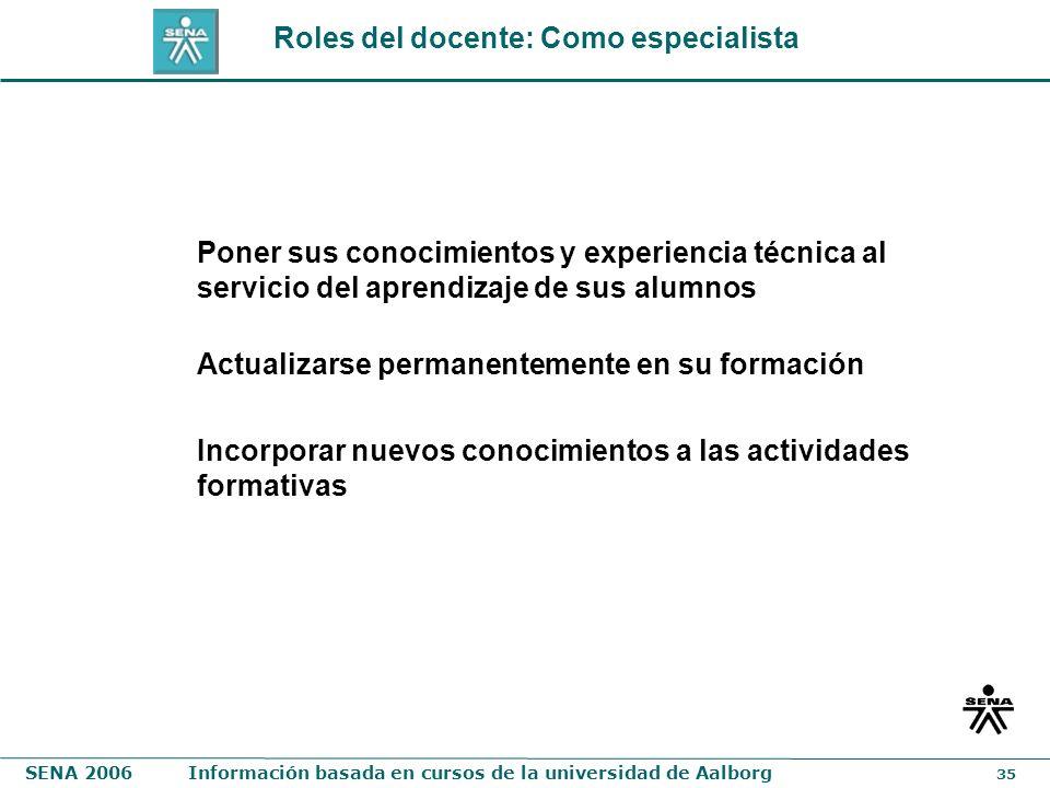Roles del docente: Como especialista