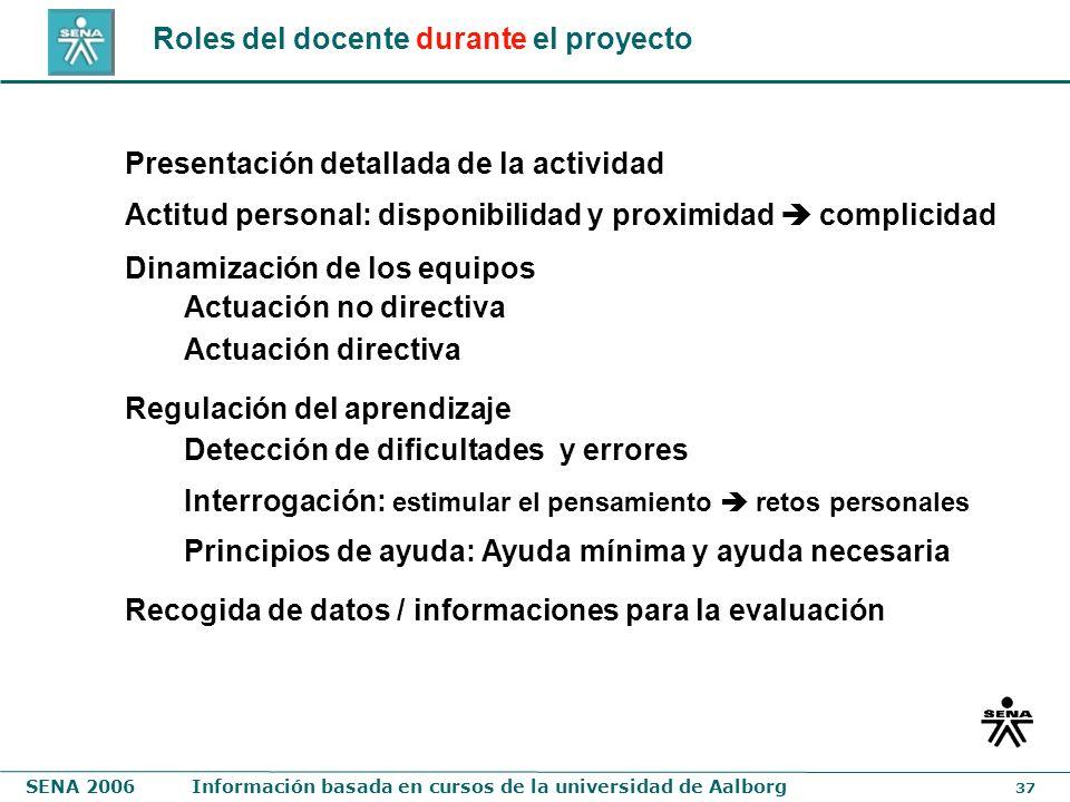 Roles del docente durante el proyecto