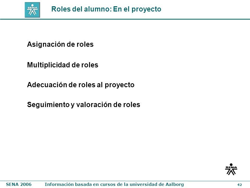 Roles del alumno: En el proyecto