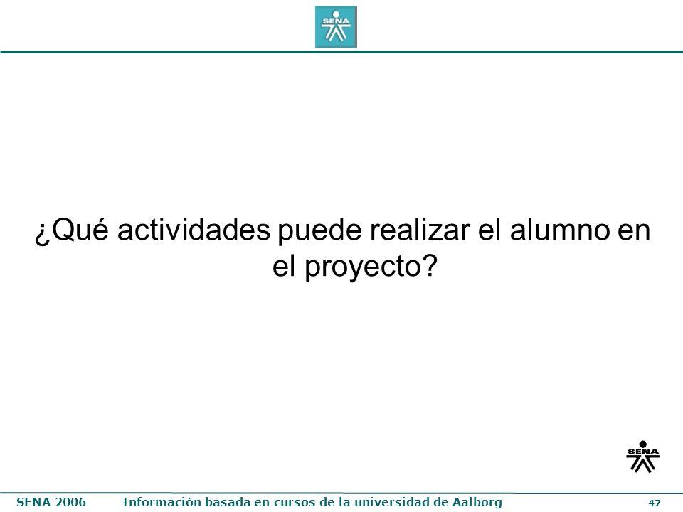 ¿Qué actividades puede realizar el alumno en el proyecto