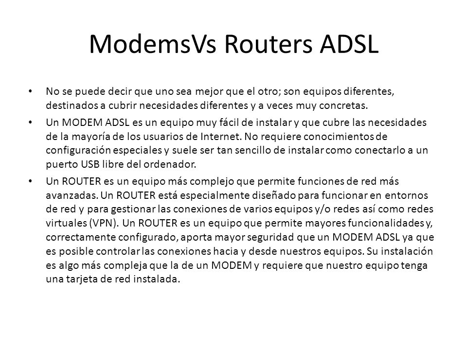 ModemsVs Routers ADSL