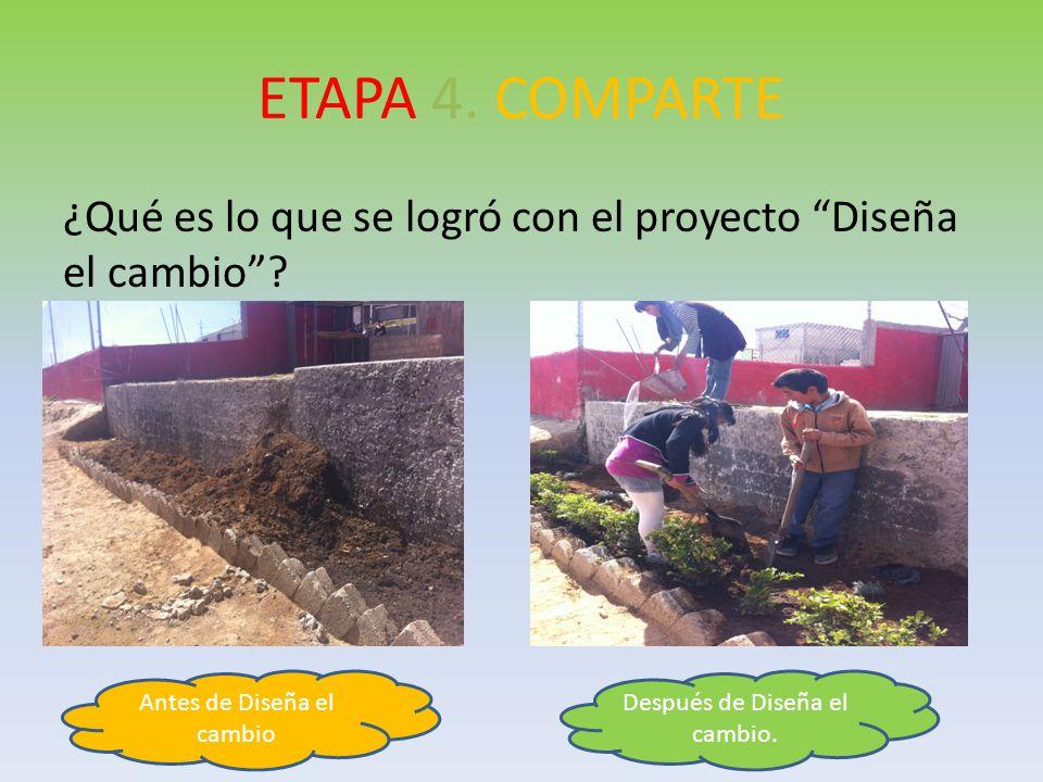 ETAPA 4. COMPARTE ¿Qué es lo que se logró con el proyecto Diseña el cambio Antes de Diseña el cambio.