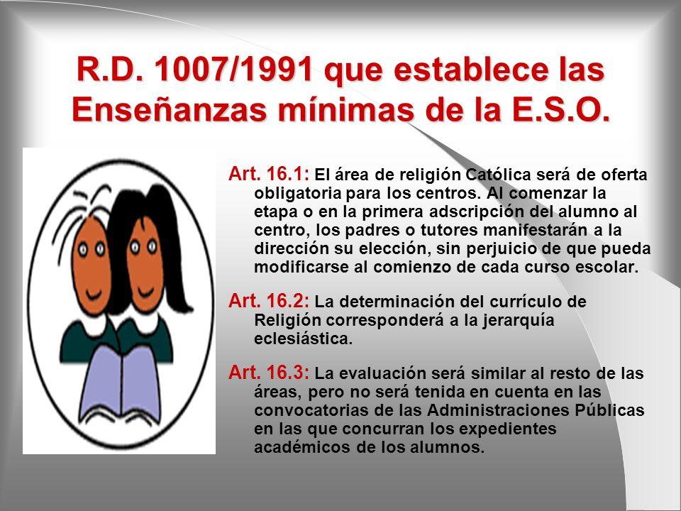 R.D. 1007/1991 que establece las Enseñanzas mínimas de la E.S.O.